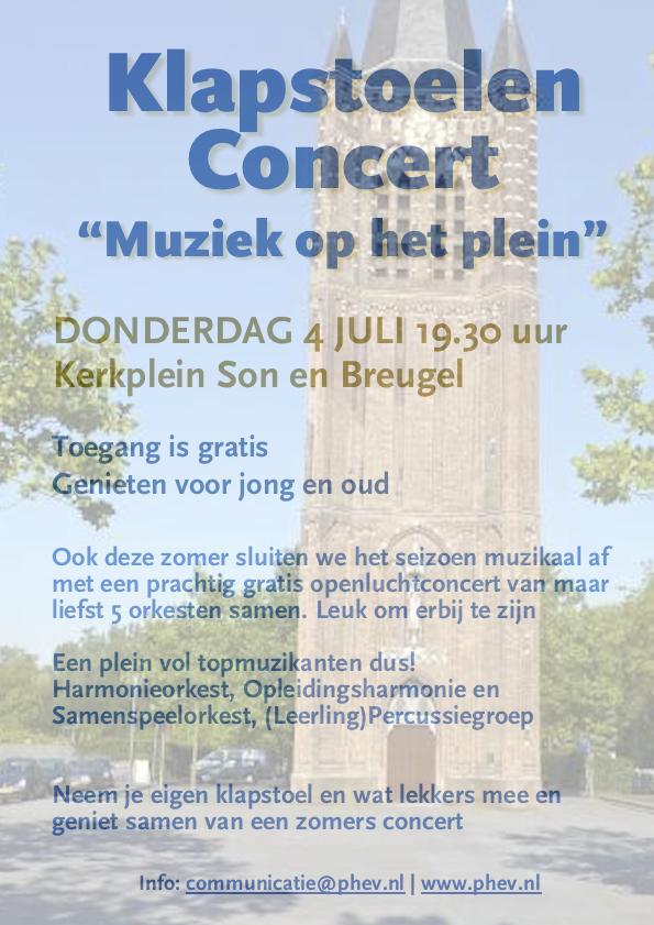 Flyer van het klapstoelenconcert van harmonie Pro Honore et Virtute