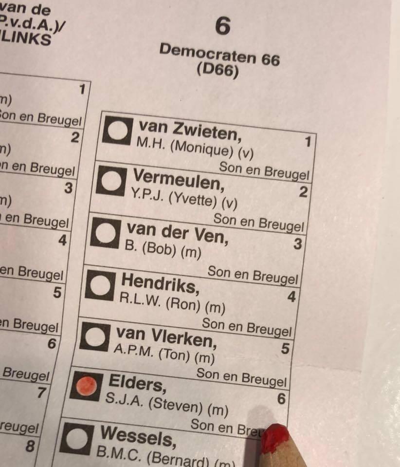 Steven Elders op de kieslijst van D66 Son en Breugel