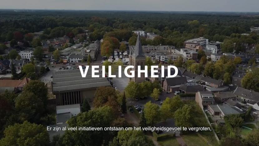 Beeld uit de video van de gemeente met dronebeelden van het centrum van Son en Breugel