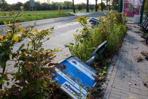 Onverlaten vernielden afgelopen nacht bushalte Waterhoef