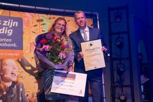 Starter van het jaar Leonie van den Tillaart Uitvaartverzorging en Patrick Wijns van de Rabobank