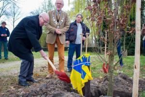 Mees de Roon plant boom ter ere van zijn honderdste verjaardag