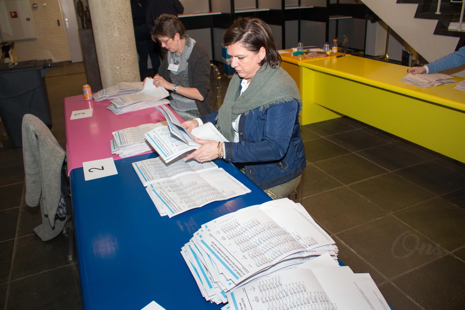 Telling stembureau gemeentehuis gemeenteraadsverkiezing