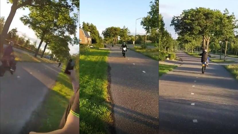 Screenshots van de motorrijdende jongeren