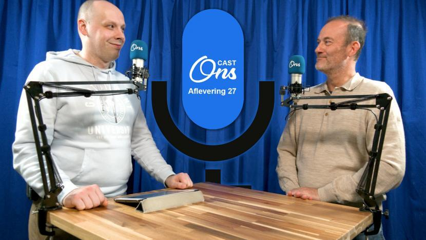 Rutger van der Heijden en Kees Vortman op de set van Onscast