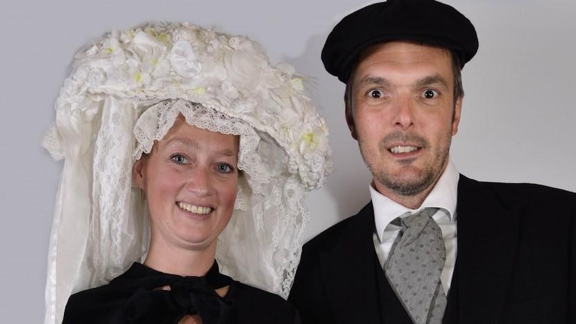 Boerin Vera en Boer Ted zijn het boerenbruidspaar Krutjesgat 2018