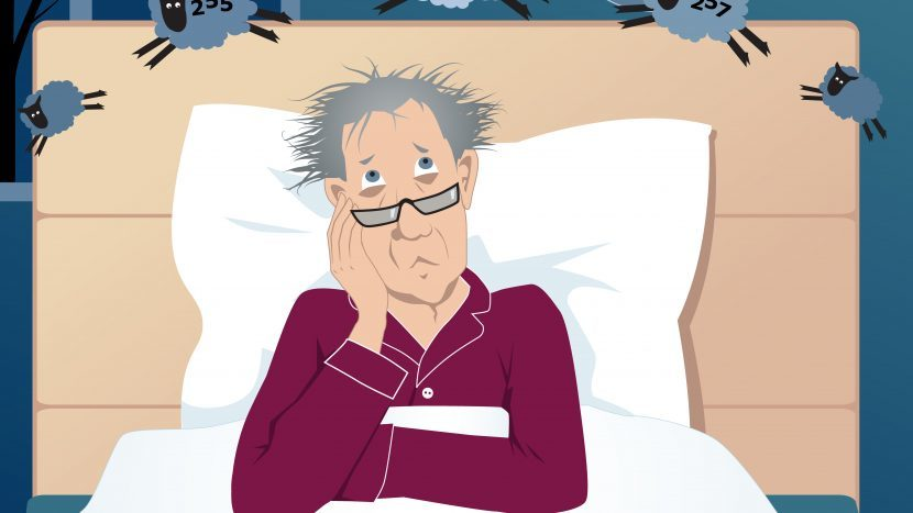 Illustratie van man die wakker ligt door slaapproblemen