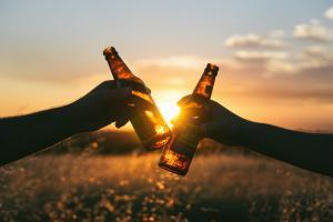 Twee proostende flessen alcohol
