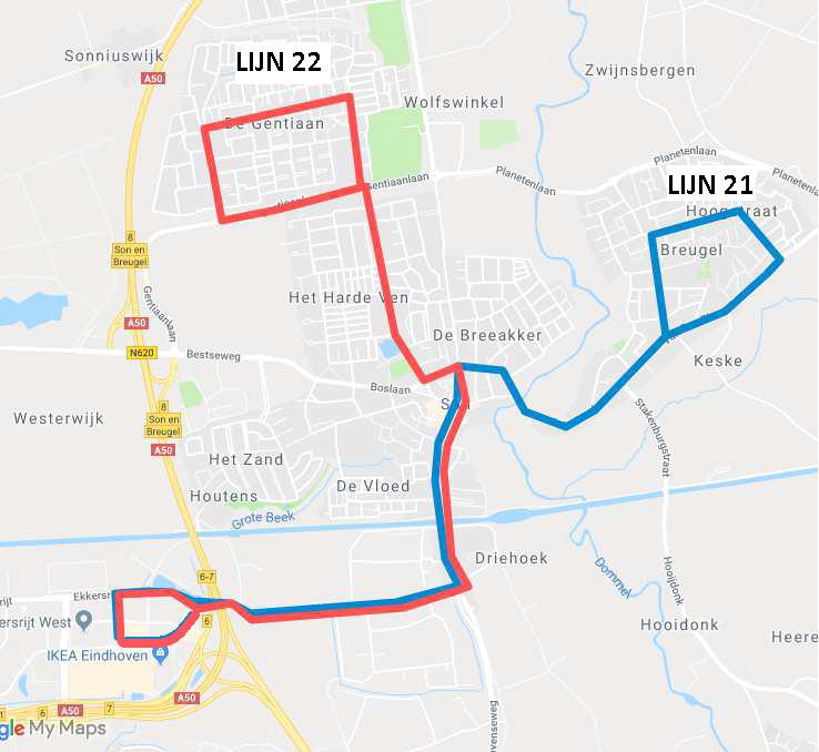 De nieuwe route buslijn Son en Breugel