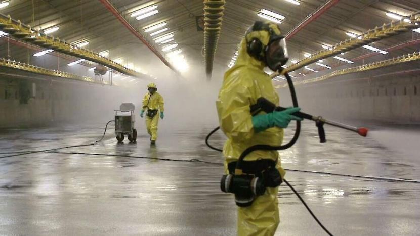 Personen in speciale pakken reinigen een stal met desinfectiemiddel