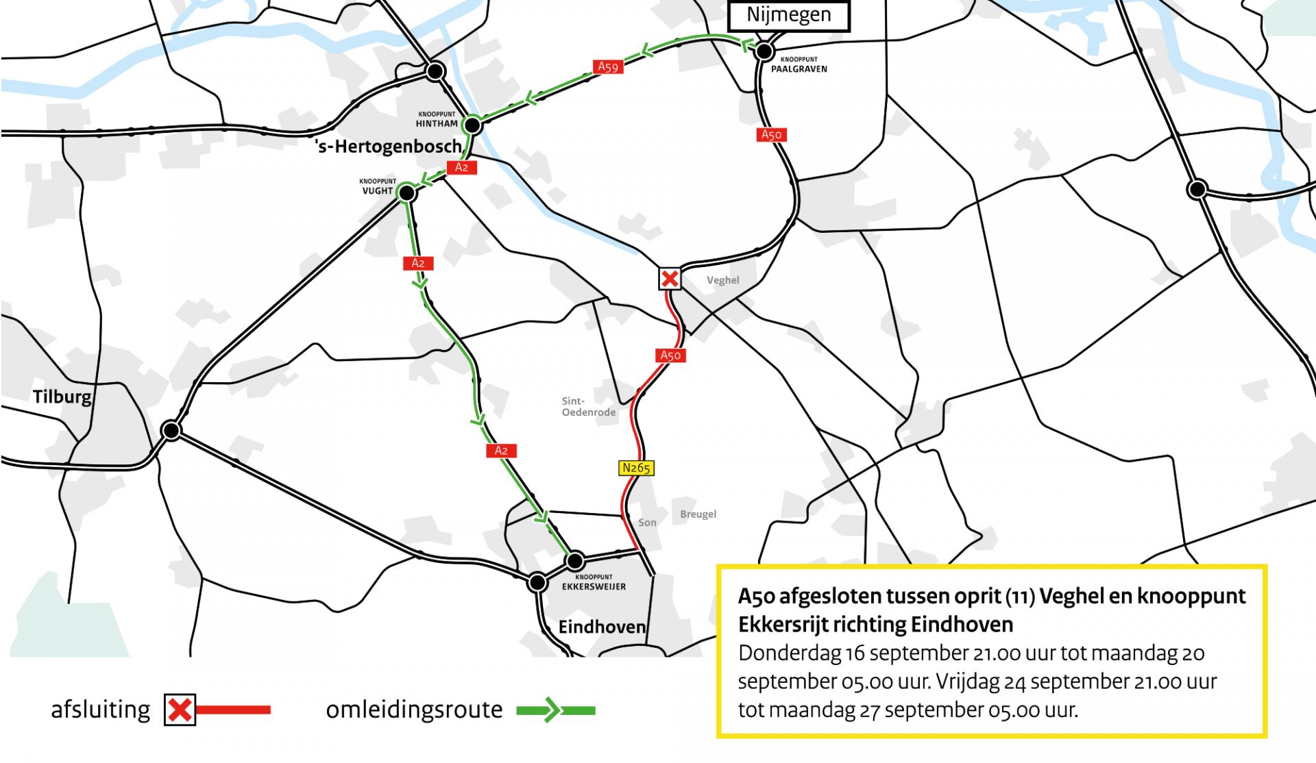 Omleiding A50 tussen Veghel en Ekkersrijt